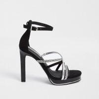 RIVER ISLAND Black embellished strappy platform heels / glamorous ankle strap platforms