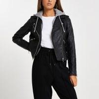 River Island Black faux leather hoodie biker jacket – modern classic jackets