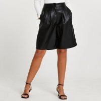 River Island Black faux leather pleated shorts