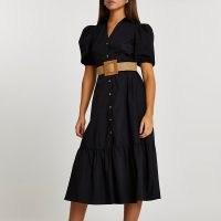 River Island Black frill hem puff sleeve midi shirt dress   belted summer dresses