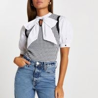 River Island Black gingham bow tie knit top