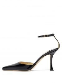 JIMMY CHOO Mair 90 point-toe patent-leather pumps – black ankle strap shoes with curved heel