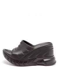 GIVENCHY Marshmallow grooved-rubber wedged mules | black wedge heel mule