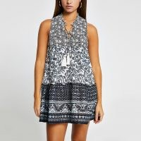 RIVER ISLAND Black mixed print mini beach dress / dresses for summer / beachwear