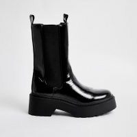 RIVER ISLAND Black patent chunky boots / shiny chelsea boot