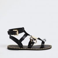 RIVER ISLAND Black printed large disc gladiators / flat strappy gladiator sandals / summer flats