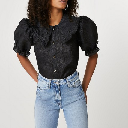 River Island Black short sleeve collar top – ruffled large collar blouses – puff sleeves - flipped