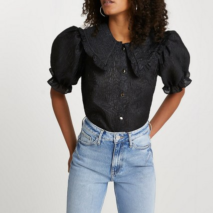River Island Black short sleeve collar top – ruffled large collar blouses – puff sleeves