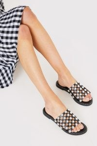 IN THE STYLE BLACK SILVER BALL DETAIL SANDALS