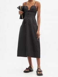 JIL SANDER Sweetheart-neckline cotton-poplin midi dress | black skinny strap summer dresses