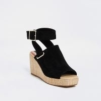 RIVER ISLAND Black wedge shoe boots / ankle strap wedges with peep square toe and buckle detail