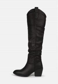 MISSGUIDED black western block heel knee high boots