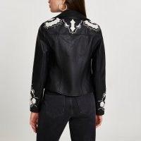 RIVER ISLAND Black western cutwork studded biker jacket