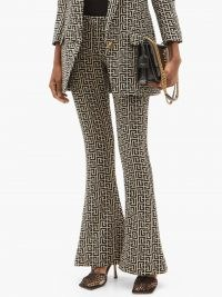 BALMAIN Wool-hopsack bootcut suit trousers   retro pants