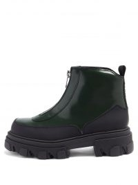 GANNI Zipped topstitched patent-leather boots ~ chunky black boot