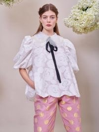 sister jane DREAM Margaret Jacquard Oversized Top ~ exaggerated puff sleeve tops ~ voluminous embellished collar blouses