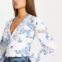 River Island Blue floral lace trim corset top