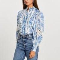 River Island Blue floral lace trim long sleeve blouse ~ romantic style blouses