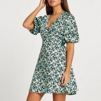 River Island Blue floral print puff sleeve mini dress