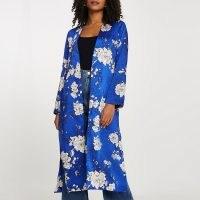 River Island Blue floral printed tie waist duster | longline jackets | lightweight coats