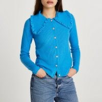 River Island Blue frill collar embellished button cardigan | oversized collars | cardigans