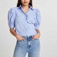 River Island Blue frill pocket short sleeve shirt   striped puff sleeve shirts