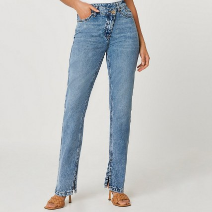 River Island Blue high waisted asymmetric front straight jeans - flipped