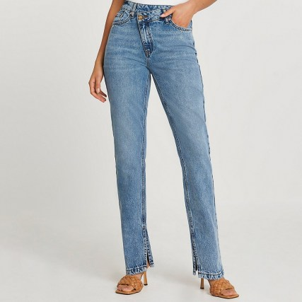 River Island Blue high waisted asymmetric front straight jeans