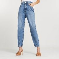 River Island Blue high waisted tapered jean   darted blue jeans