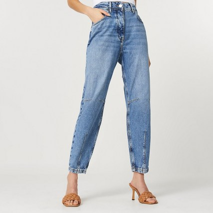 River Island Blue high waisted tapered jean | darted blue jeans - flipped