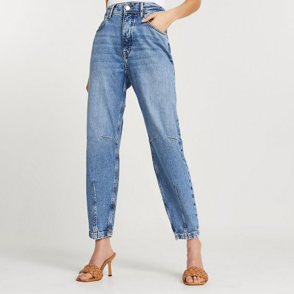 River Island Blue high waisted tapered jean | darted blue jeans