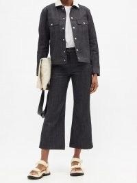 JIL SANDER High-rise flared-leg cropped jeans | dark denim | crop hems