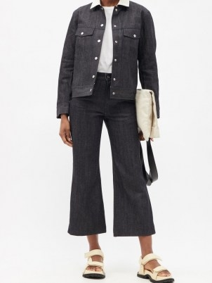 JIL SANDER High-rise flared-leg cropped jeans | dark denim | crop hems - flipped