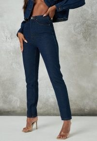 Missguided blue indigo co ord straight leg jeans | dark denim