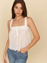 REFORMATION Blue Jay Top ~ white summer babydoll tops