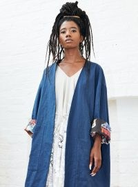 Simeon Farrar BLUE LINEN SUMMER COAT WITH MOVIES INSIDE ~ open front coats ~ YBD