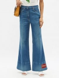 GUCCI Logo-patch high-rise flared-leg jeans ~ 70s style flares ~ vintage look denim