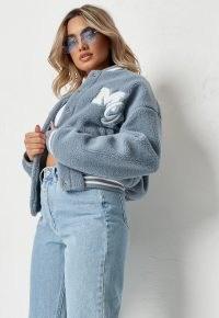 MISSGUIDED blue pastel borg teddy varsity jacket ~ classic American style jackets