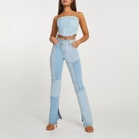 River Island Blue patched high waisted straight jean | patch denim jeans | asymmetric front
