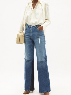 VICTORIA BECKHAM Patchwork high-rise flared wide-leg jeans | 70s style denim flares - flipped
