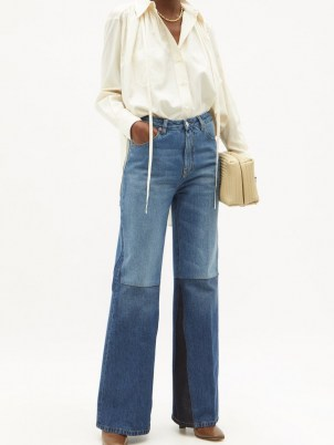 VICTORIA BECKHAM Patchwork high-rise flared wide-leg jeans | 70s style denim flares