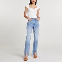 River Island Blue split hem high waisted straight jean | denim jeans with slit hems