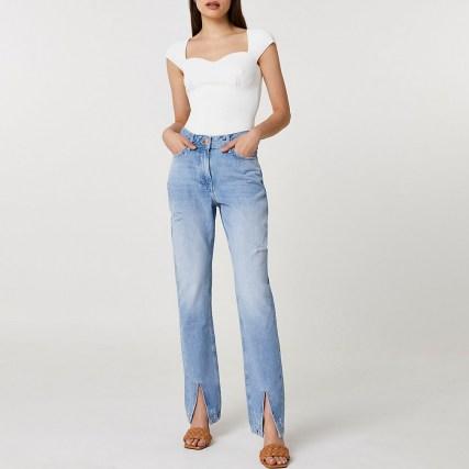 River Island Blue split hem high waisted straight jean   denim jeans with slit hems - flipped