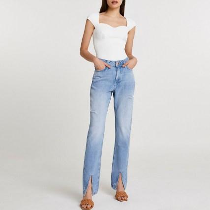 River Island Blue split hem high waisted straight jean   denim jeans with slit hems