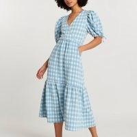 RIVER ISLAND Blue textured gingham wrap midi dress / checked summer dresses