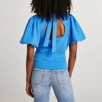 River Island Blue textured high neck tie back top   open back puff sleeve tops