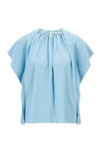 HUGO Ibanisy gathered-neckline top in Italian satin-back crepe – light blue tops with a ruched neckline