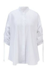 HUGO Benima relaxed-fit blouse in organic cotton with adjustable sleeves – ruched sleeve blouses – gathered detail shirt