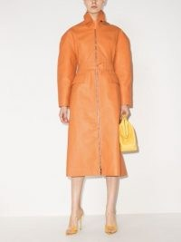 Bottega Veneta belted-waist leather trench coat / orange statement coats