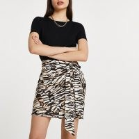 RIVER ISLAND Brown animal print knotted wrap skirt ~ tie detail skirts